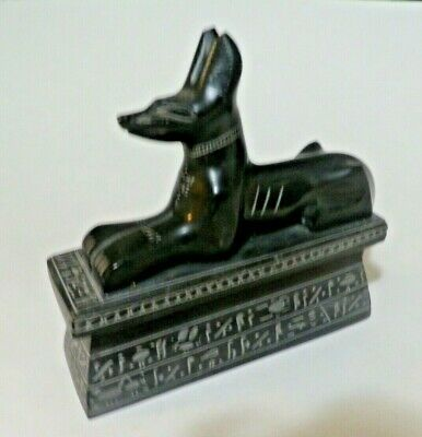 "6"" x 5.5"" Egyptian Anubis Sculpture Ancient Egypt God Statue Dog Hieroglyphics"