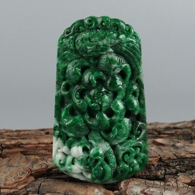 Chinese Exquisite Hand-carved bird Carving jadeite jade Pendant