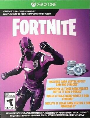 Fortnite Battle Royale Dark Vertex Pack & 500 V-Bucks DLC Code Xbox One