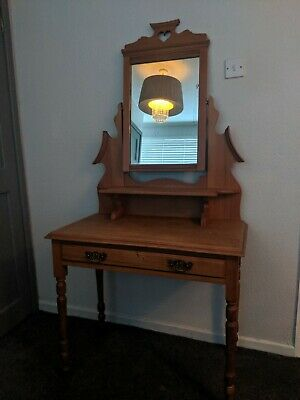 Beautiful antique dressing table with  mirror and heart detail and drawer.