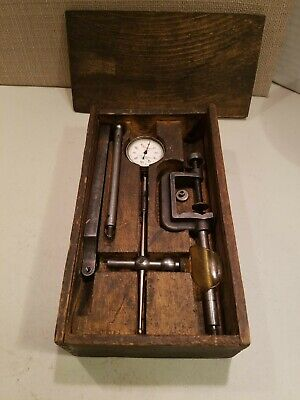 Vintage Starrett Dial Indicator 1/1000 Kit In Wood Case