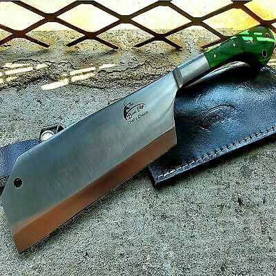 """12"""" MEAT CLEAVER CHEF BUTCHER KNIFE Steel Chopper Full Tang Kitchen Green Wood"""