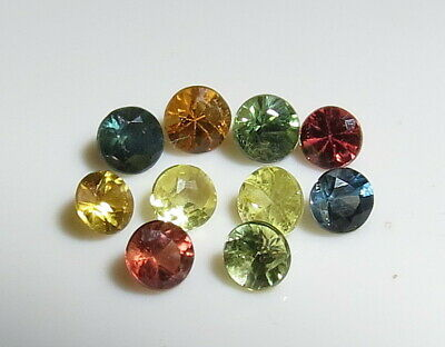 10pc FANCY COLOR NATURAL SAPPHIRE faceted ROUND CUT LOOSE GEMSTONE BLUE GREEN