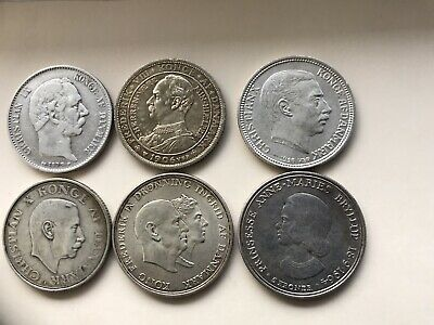 Denmark 2 Kroner All In F- VF Condion .from 1875-1964. 25 Coins