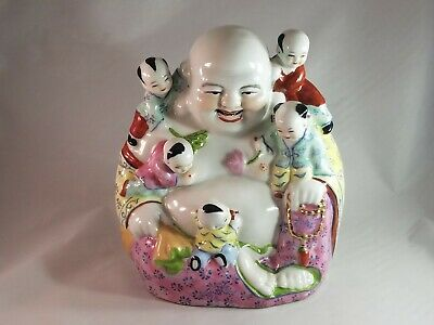 Vintage Chinese Famille Rose Porcelain Buddha With 5 Children