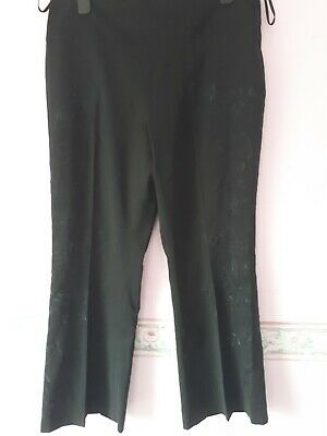 Smart Black Trousers With Floral Pattern Size 16