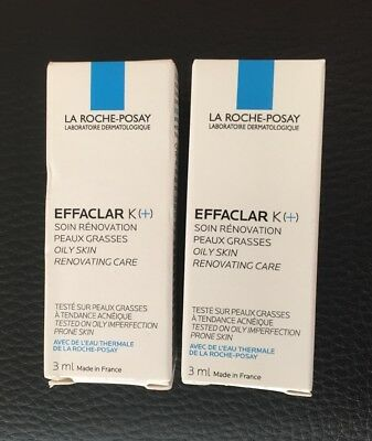 2x La Roche-Posay EFFACLAR K(+) For Oily/Acne Prone Skin 3ml Expiry 11/2019