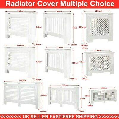 Radiator Cover White Modern MDF Cabinet Slatted Grill Wood Wall Shelf Furniture