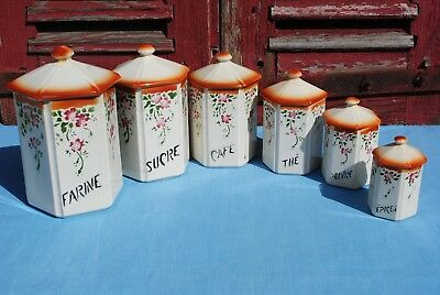 Vintage Set 6 French Rustic Hexagonal Ceramic Kitchen Canisters Spice Jars Pots