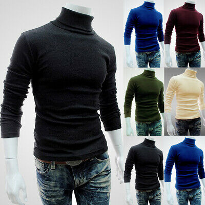 New Mens Thermal High Collar Turtle Neck Long Sleeve Sweater Stretch T-Shirt