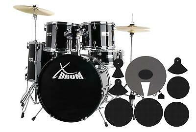 Beginners Complete Drum Kit Studio 20 Inch Hardware Cymbals Stool Pedals Black