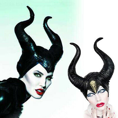 Halloween Costumes Queen Horns Hat Deluxe Maleficent Headpiece Women Girls Black