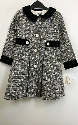 Blueberi Gold Girls Two Piece Set Dress with Coat Black/White Size 6 with Tags