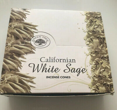 Green Tree Californian White Sage Natural Masala Incense Cones , 12 Boxes, New