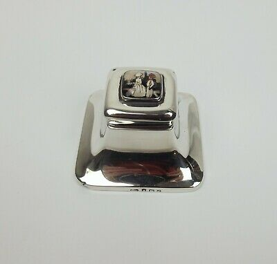 c1925 Small Silver Inkwell With Enamel Picture Lid