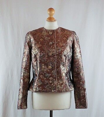 Janie Smith Women's 1950s 1960s Midcentury Pastel Pink Metallic Floral Jacket