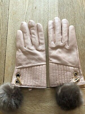 Blush Pink Learther Gloves With Furry Pompomssize EUR 3/4 Which Is Medium