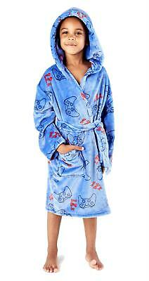 Childrens / Boys Blue Computer Gaming Print Dressing Gown / Robe ~ 5-12 Years