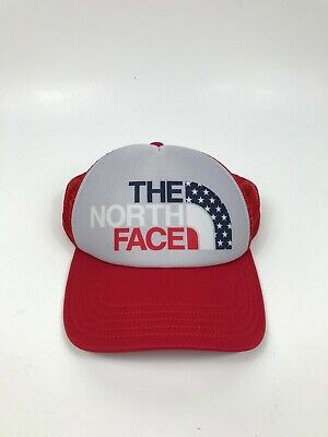 Womens OSFA The North Face TNF Red White Blue American Flag Trucker Hat