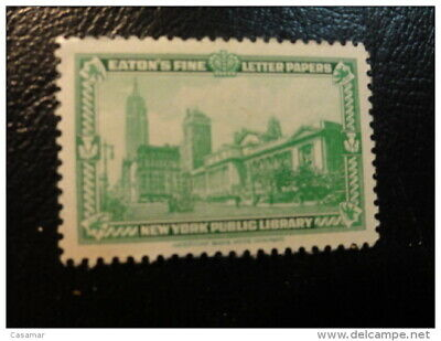 NEW YORK PUBLIC LIBRARY Vignette Poster Stamp Label USA