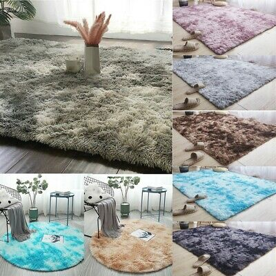 Fluffy Rugs Anti-Skid Shaggy Area Rug Carpet Dining Home Bedroom Floor Mat LIU9