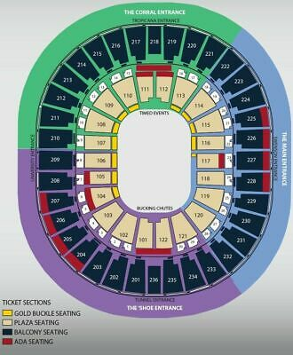 (2) National Finals Rodeo Tickets NFR Tuesday Dec 10th Section 214 Row L