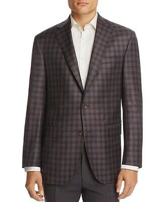 New $695 Jack Victor Brown Blue Check 100% Wool Loro Piana Blazer Jacket 40S