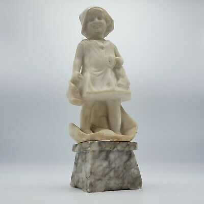 "Antique Alabaster Carved Statue of a Child ~ 12"" Tall"