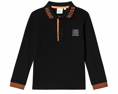 Sale Hugo Boss Junior J25E33 09B Long Sleeved Boys Polo Shirt Black Top
