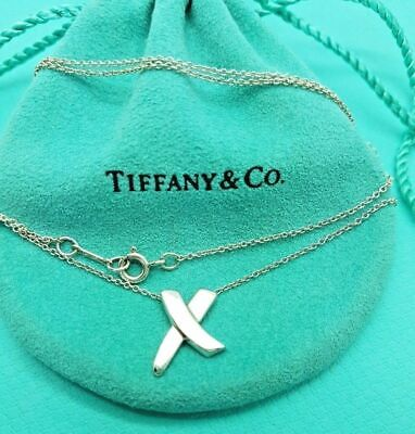 """Tiffany & Co Sterling Silver Picasso Paloma X Kiss Pendant Necklace 16"""" Genuine"""