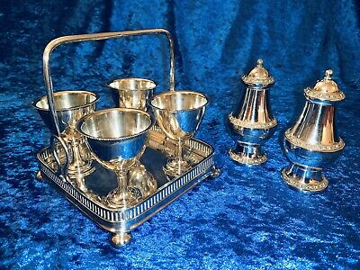 antique Silver Plate Egg Cup Set With Salt And Pepper Set