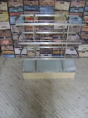 Retail Glass  Top Shelving Display 4 Shelf Stand