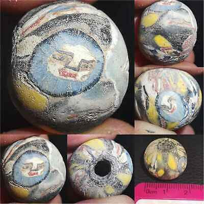 Roman Old Wonderful Mosaic glass Bead With Faces   # 44