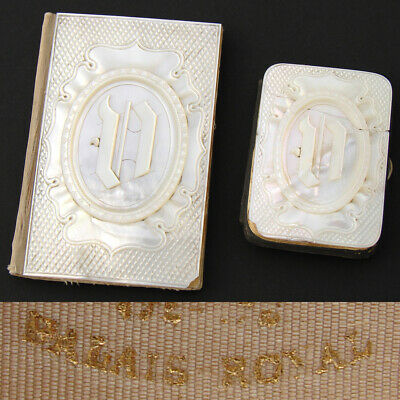 Pair Antique French Palais Royal Marked Mother of Pearl Carnet Bal & Coin Purse