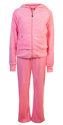 Love Lola Childrens Girls Velour Tracksuit Candy Pink Age 11/12 Brand New