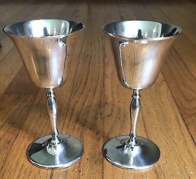 Eales 1779 India 2 Silver Wine Goblets Vintage Great Condition Authentic