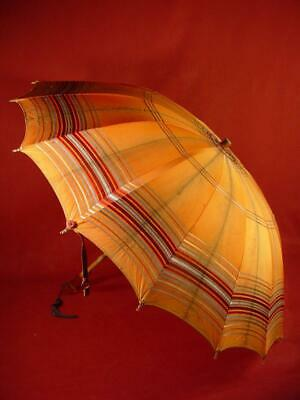 Vintage Antique Silk Umbrella W/ Amber Lucite Handle Wood Shaft