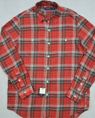 Polo Ralph Lauren Shirt Red Plaid Lightweight with Chest Pockets S & M NWT $99