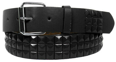 Black Metal Studs Black Leather Belt With Removable Buckle - S M L Xl