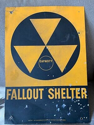 "60's Used Fallout Shelter Sign Vintage Reflective Capacity 14x20"" Original Metal"