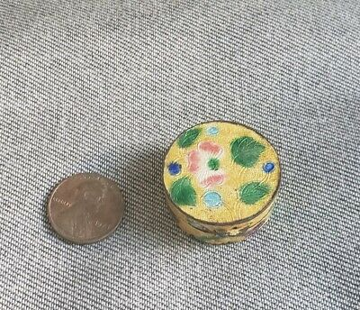 Antique Chinese Cloisonne enamel pill box hinged flowers floral yellow
