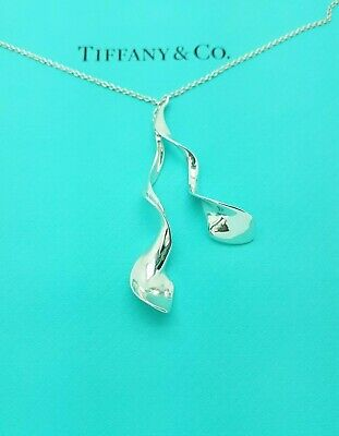 Tiffany & Co Sterling Silver Frank Gehry Double Orchid Pendant Necklace Rare