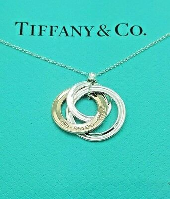 Tiffany & Co 1837 Rubedo and Silver Interlocking 3 Circles Pendant Necklace 18""
