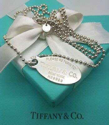 """Tiffany & Co Sterling Silver Oval Large Dog Tag 2.5mm Bead Pendant Necklace 34"""""""