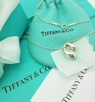 Tiffany & Co Elsa Peretti Silver Double TearDrop Pendant  Necklace 16""