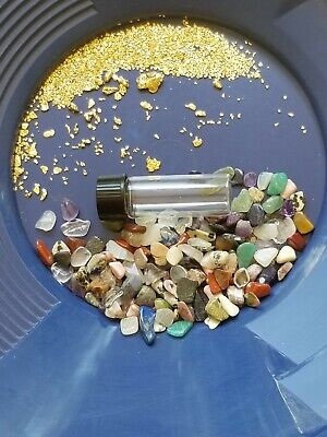 GOLD Paydirt 100% Unsearched Guaranteed Gold Nuggets Added 1/2 lb w/gemstones.
