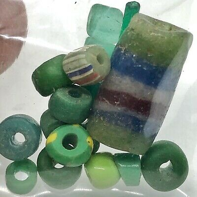 15 Ancient & Medieval Glass Beads Old — Roman Viking Venetian Byzantine — Green