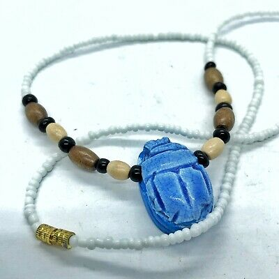Egyptian Scarab Bead Necklace Souvenir— Blue Faience North African Mummy Style
