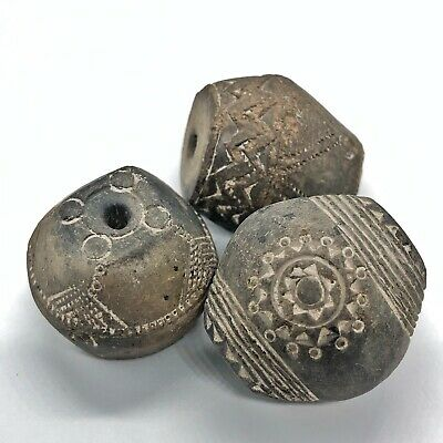 3 Antique Clay Spindle Whorl Beads Pre Columbian Or African Style Old Artifact