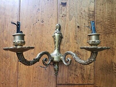 Antique Brass Bronze French Two Arm Lamp Hanging Wall Sconce